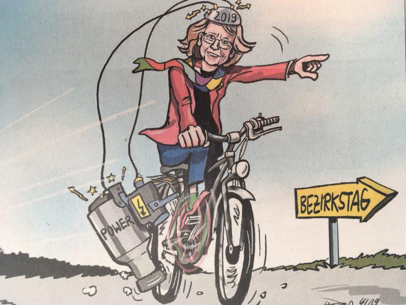 """Irmgard Münch-Weinmann """"rast"""" auf ihrem Fahrrad Richtung Bezirkstag"""